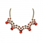 Euramerican Fashionable Vintage Water drop Pattern Beads Necklace - Wine Red