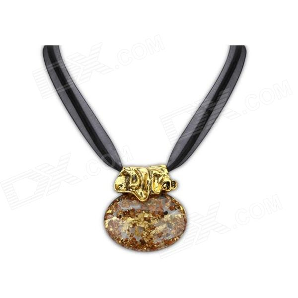 Euramerican Exotic Imitation Amber Necklace - Coffee + Black