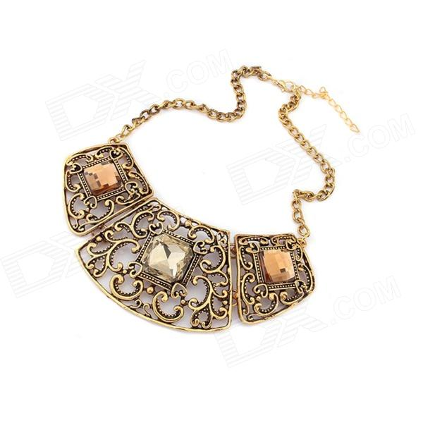 Hollow-out Zinc Alloy + Glass Women's Necklace - Bronze promotion bronze with white glass dome dr doctor who design pocket watch necklace vintage pendant wholesale price fast shipping