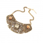 Hollow-out Zinc Alloy + Glass Women's Necklace - Bronze