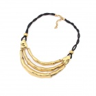 Ancient Znic Alloy Necklace - Black + Gold