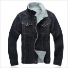 YH-Js-m Men's Fashion Cowboy Add Flocking Cotton-padded Jacket - Deep Blue (Size XXL)