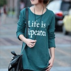 HY9228 Women Loose Thin Render Garment Long Sleeve T-shirt - Green (Size M)