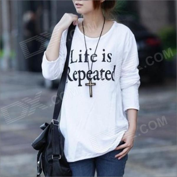 HY9228 Women Loose Thin Render Garment Long Sleeve T-shirt - White (Size M)