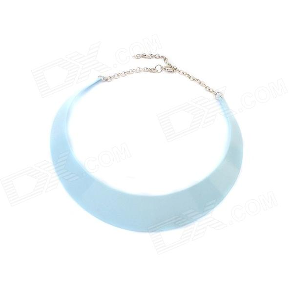 European and American Style Fashionable Women's Short Necklace - Silver + Blue