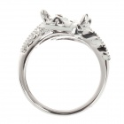 Stylish Copper Bull's Head Style Ring for Women - Silver + Black + White