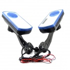 S303 Motorcycle Rearview Mirror MP3 Player Speakers w/ Remote Controller - Black (Pair / DC 12V)