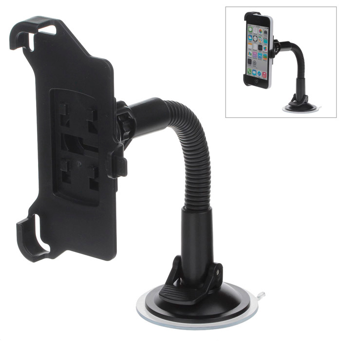 360 Degree Rotation Suction Cup Holder w/ H05 Bracket for Iphone 5C - Black h08 360 rotation 4 port suction cup holder w silicone back clip for iphone 4 4s 5 ipad mini ipod