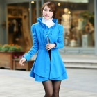 Stylish Fur Collar Artificial Woolen Women's Coat - Blue (Size-M)