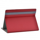 Universal Protective PU Case w/ Stand for 8.9''-10.1'' Tablet - Deep Red