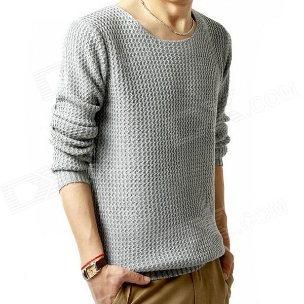 DE479 Fashionable Men's Knitting Coat - Light Grey (Size-L)