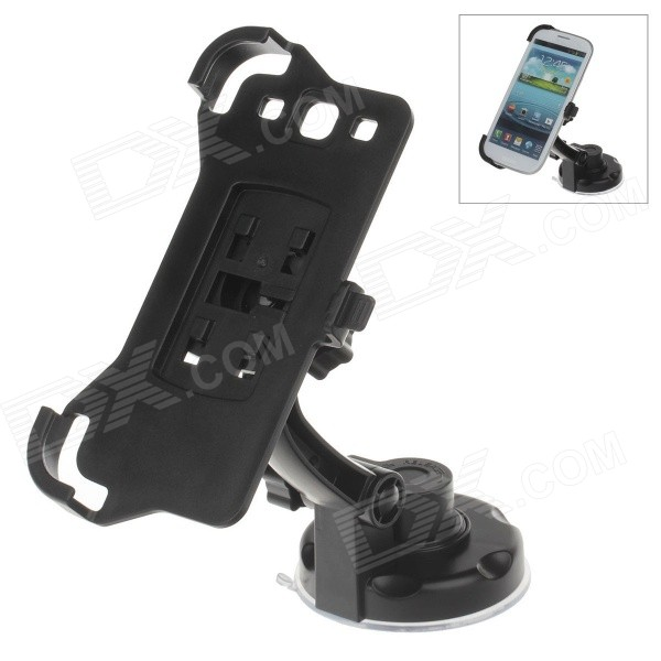 360 Degree Rotation Holder Mount w/ H17 Suction Cup + Back Clamp for Samsung Galaxy S3 i9300 - Black 360 degree rotational car mount holder w suction cup for samsung galaxy note 3 n9000 n9002