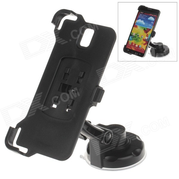 360 Degree Rotation Holder Mount w/ H17 Suction Cup + Back Clamp for Samsung Galaxy Note 3 - Black 360 degree rotational car mount holder w suction cup for samsung galaxy note 3 n9000 n9002