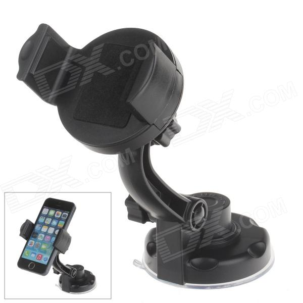 360 Degree Rotation Holder Mount w/ H17 Suction Cup + C46 Back Clamp for Mobile - Black h08 360 rotation 4 port suction cup holder w silicone back clip for iphone 4 4s 5 ipad mini ipod