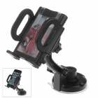 360 Degree Rotation Holder Mount w/ H17 Suction Cup + C38 Back Clamp for Mobile Phone - Black