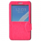 Stylish Protective PU Leather+Plastic Case with Display Window for Samsung Galaxy Note 3 - Deep Pink