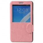 Stylish Protective PU Leather + Plastic Case with Display Window for Samsung Galaxy Note 3 -Pink