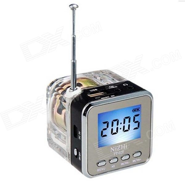 TT-028 Colorful Flash Mini Speaker w/ FM, TF Card Reader & Clock - Black