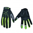 Outdoor Sports Cycling Full-Finger Spandex Gloves - Black + Green  (Pair / Size-L)