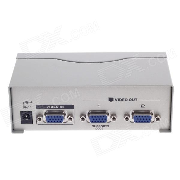 CKL-92A 1-In 2-Out 250MHz VGA Video Splitter - Blue + Silver Grey (1920x1440 Max) 3 in 1 10ka power in rs485 out v out video surge protection device blue 12v 24v 220v
