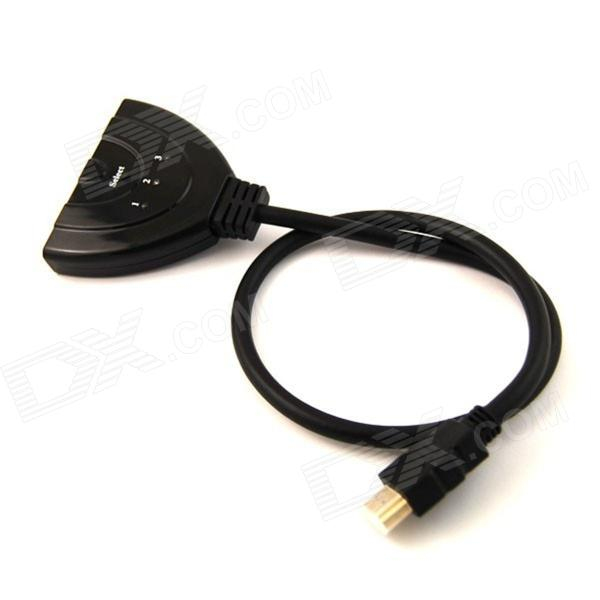 U65 Ourspop HDMI V1.4 Amplified Switcher HDMI Adaptador Cable - Negro (3 entradas / 1 salida)