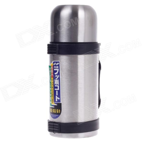 Dual-Layer Stainless Steel Warm / Cold Insulation Travel Thermos Bottle - Silver + Black (500mL)
