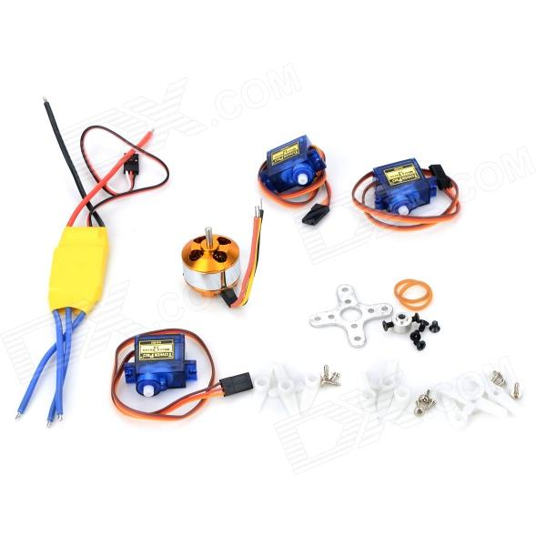 A2208 1500KV 30A ESC Servo SG90 Fixed-Wing Aircraft Set - Multicolored carbon fiber spinner for 2 blades porp fixed wing rc aircraft 3 3 5 4 4 5 5 5 5 6