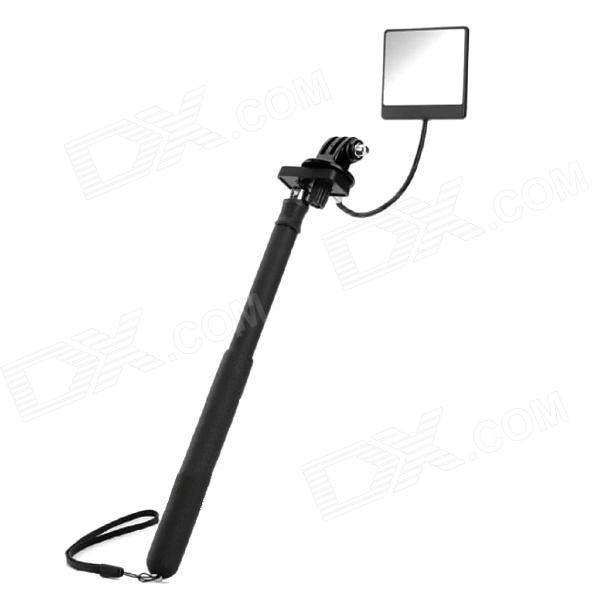 6-Fold Retractable Handheld Monopod w/ Strap / Mirror for Gopro Hero 4/ 1 / 2 / 3 / 3+ / SJ4000 three dimensional adjustable zinc alloy connector for gopro 3 3 2 golden