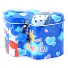 S-01 Cute Double Heart Shape Cartoon Pattern Iron Metal Piggy Bank - Deep Blue