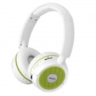 DAZA D900BT Handsfree Stereo Wireless Bluetooth Headphones w/ MP3 /TF / Mic / FM -White + Green