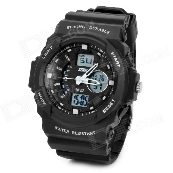 Skmei Outdoor Waterproof ABS Case Rubber Band Quartz Analog + Digital Wrist Watch for Men - Black