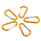 004 Outdoor Sports Aluminum Alloy Lock Carabiner Clip - Golden + Silver (5 PCS)