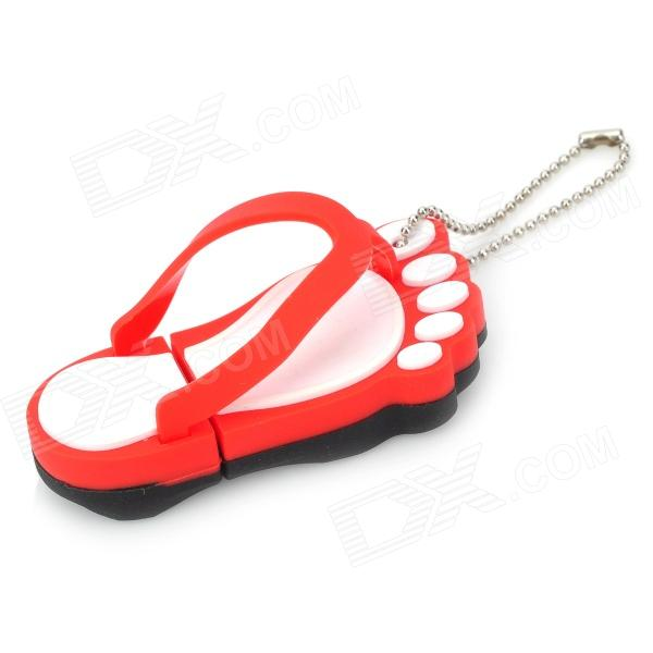 Slippers Style USB 2.0 Flash Drive Disk - Red + White (16GB) lion style usb 2 0 flash drive disk multicolored 4gb