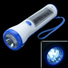 PS-017 ABS Solar Powered 5-LED 350lm Flashlight / 1000mAh Power Bank for Cellphone - White + Blue