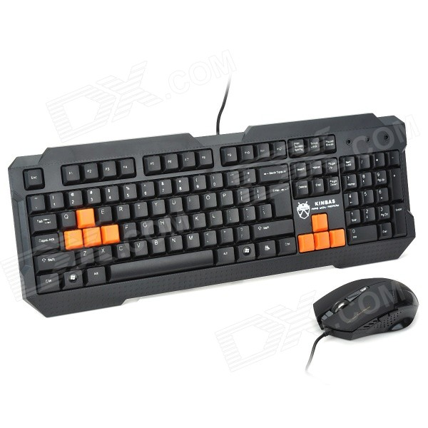 KINBAS GX-MK98 USB Wired Blue 104-Key Gaming Keyboard + Wired USB Mouse Set - Black kinbas gx mk98 usb wired blue 104 key gaming keyboard wired usb mouse set black