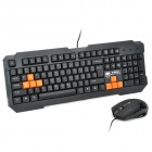 KINBAS GX-MK98 USB Wired Blue 104-Key Gaming Keyboard + Wired USB Mouse Set - Black