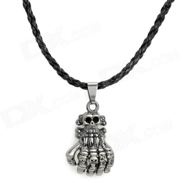 NO.7 Stylish 316L Stainless Steel Hand Skeleton Pendant Necklace - Black + Silver - DXNecklaces<br>Color Black Brand NO Model NO.7 Quantity 1 Piece Gender Unisex Suitable for Adults Chain Material Artificial leather Pendant Material 316L stainless steel Chain Length 50 cm Chain Width 0.4 cm Packing List 1 x Necklace<br>