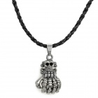 NO.7 Stylish 316L Stainless Steel Hand Skeleton Pendant Necklace - Black + Silver