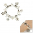 Fashionable Snow Flake Ornament Plastic + Crystal Bracelet - Translucent