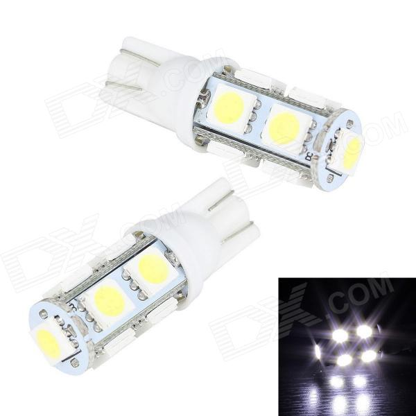 Merdia T10 5W 250lm 9-SMD 5050 LED White Car Interior / Door / Parking Light - (12V / 2 PCS) merdia t10 0 5w 10lm 1 x smd 5050 led green light car tail light 12v 2 pcs