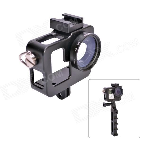 Fat Cat CNC Aluminum Alloy Extension Ultra Heat-Sink Case w/ 37mm MCUV Lens for GOPRO Hero 3+/3