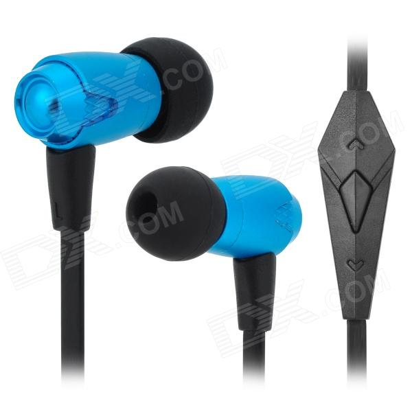 OVLENG iP810 3.5mm Super Bass In-ear Earphone w/ Microphone for Iphone / Ipad / Ipod - Light Blue fashion professional in ear earphones light blue black 3 5mm plug 120cm cable