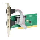 IOCREST IO-PCI351-2S PCI to 2-port RS232 Expansion Card w/ WCH351Q Chip - Green