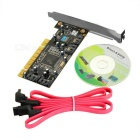 IOCREST MM-SA3114-4I SIL3114 4-Port SATA PCI Expansion Card w/ Two SATA Cables - Black