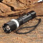 SLH Cree XP-E Q5 130lm 3-Mode White Zooming Emergency Flashlight - Black (1 x 18650 / 3 x AAA)