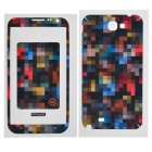 Mosaic Pattern Protective Front + Back Skin Sticker Protector for Samsung N7100