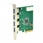 IOCREST IO-PCEEJ198-4U 4-Port USB 3.0 PCI-E Express 2.0 Expansion Card - Green