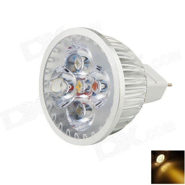 YouOkLight GX5.3 4W MR16 280lm 3500K 4 LED Luz Blanca caliente Proyector - Plata (12V)