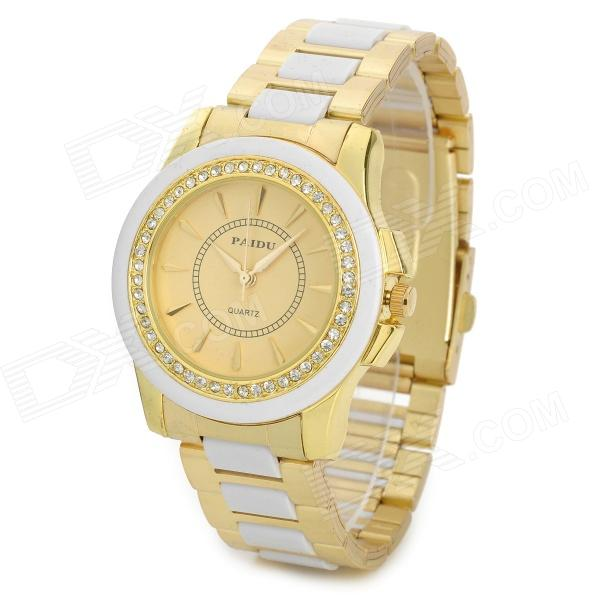 PAIDU 58928 Woman's Stylish Crystal Decorated Analog Quartz Wrist Watch - Golden + White (1 x 626) paidu fashion men wrist watch casual round dial analog quartz watch roman number faux leatherl band trendy business clock