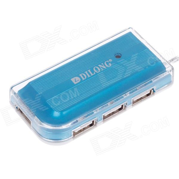 DILONG HB-002 Stylish Mini High Speed 4-Port USB 2.0 HUB w/ USB Power Adapter - Blue + White